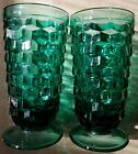 Teal Green Fostoria Whitehall Cubist Ice Tea Glasses