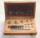 Set of 10 Vintage BRASS SCALE WEIGHTS in Wooden Case Box - 2-200 grams