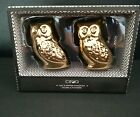 Ciroa Gold Owl Salt and Pepper Shaker Set NIB