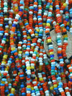 Vintage Multi Colors Glass Seed Beads Solid Stripe Italian Italy TWO Long Hanks