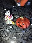 VINTAGE HALLOWEEN Lefton 047 Witch And Pumpkin Salt And Pepper China