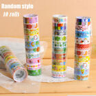 10Pcs Set Lots Paper Sticky Adhesive Stickers Decorative Washi Tapes Magic Top