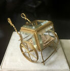 Antique French Thick Beveled Glass Display Box on Brass Metal Cart One Piece