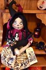 Primitive Raggedy Ann Doll Witch Halloween Gothic Ouija Board Print With Kitty