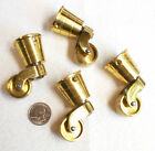 4 Solid Brass Round Cup Caster Antique? or castor reproduction