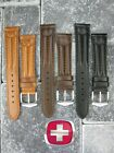 New 19mm 20mm WENGER SWISS Army Leather Strap Black Brown Watch Band Long XL L