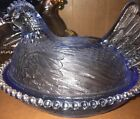 Indiana Glass light Blue Hen on a Nest Chicken Covered Candy Dish