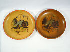 Wood Plate Decorated German Wall Hanging Hand Painted Set Of 2 Vintage