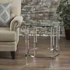Orson See Through Clear Acrylic  Glass Round End Table