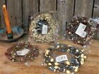 4 New Country Primitive Berry Candle Rings Wreath Lot