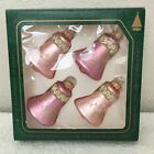 Vintage Klebs Pink Bells Gold Lace Glitter Christmas Ornaments