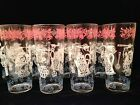 Set 8 RETRO Ice Tea Tumbler GLASSES Pink White Blue Applied Decoration Highballs