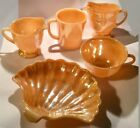Vintage Fire King Copper Tint/Peach Luster Coffee Cup/Shell Candy Dish Lot (5}