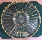 13 DIVIDED PLATTER RELISH SERVING DISH CLEAR WITH GOLD TRIM