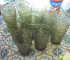 Lot 9 Anchor Hocking Lido Milano Avocado Green Textured Bumpy Drinking Glasses
