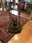 Antique Gothic Revival Brass Candle Chandelier From Church Or Cathedral