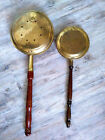 Antique Pair of Brass Warming Pan Bed Warmer with Wooden Handle