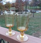 Lot of 2 Amber Glass Panel Stem Water Wine Goblets 8 ounce