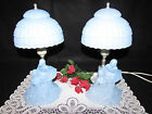 PAIR VTG L.E. SMITH 1940'S LIGHT BLUE GLASS BALLERINA FIGURINE TABLE LAMPS 12