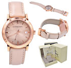 Burberry Watch Women BU9014 Rose Gold Check Stamped Dial Nude Leather Strap 38mm