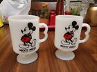 Vintage Disney MICKEY MOUSE Footed Pedestal Milk Glass Mugs set of two