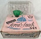 Anchor Glass Serva Snack Set 4 Clear Trays w/4 Green Cups No Box