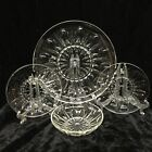 Vintage Clear Glass Thumbprint Star Pattern Dinnerware 18 Pieces