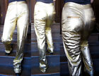 Vtg 1970s Disco skinny supermodel gold lam jeans sleek extra long metallic