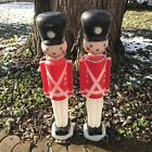 2 Vintage Empire 30 Christmas Lighted Blow Mold Toy Soldier Nut Crackers