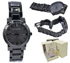 Burberry Watch Men BU9007 Black Gunmetal Check Stamp Stainless Steel Band 38MM