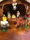 1950s vintage Corwin plastic nativity set with cardboard stable and directions
