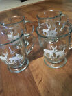 Vintage Anchor Hocking Glass Footed Christmas Reindeer Snowflake Mugs Set of 4