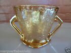 Jeannette Glass Iridescent Floragold Louisa Footed Open Sugar Bowl