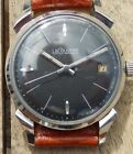 1960'S JAEGER LECOULTRE 4X SIGNED ORIGINAL BLACK DIAL FANCY LUGS STAINLESS STEEL