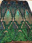 Iridescent Green Sequins Fabric 4 Way Stretch Embroidered On Black Mesh By Yard