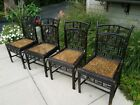 Vintage Chinese Chippendale Rattan Bamboo Cane Chairs FOUR PICK UP CHICAGO