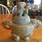 Vintage Hand Carved Chinese Dragon Urn Complex Colors Marble Alabaster Heavy