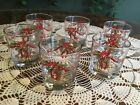Vintage 9-Ounce Anchor Hocking Holiday Glasses, Set of 6, MINT