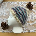 Chunky Knit Purple Teal Beige Unbranded Beanie Hat One Size