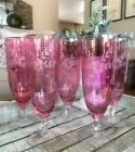 5 Glastonbury Crystal Cranberry Cut to Clear Iced Tea Glasses Wedding Christmas