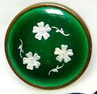 Antique Button GREEN French Enamel Under Glass w/Silver FOIL Flower Paillons B13