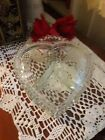 Vintage Clear Glass Heart Shaped Candlewick Divided Covered Candy Dish Bowl