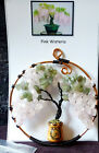 Pink Wisteria in mini pot Gemstone Bonsai Wire Tree of Life Art with Lucky Horse