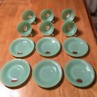 Fire King Jadeite Jadite Jane Ray Cup And Saucer Sets (6) Excellent