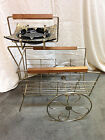 Vintage Mid Century Metal Magazine Album Ashtray Stand Cart With Wheels