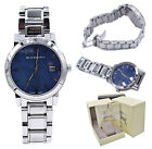 Burberry Watch Men BU9031 Blue Check Stamp Dial Silver Stainless Steel Band 38MM