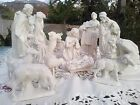 Vintage Atlantic Mold Nativity Set White Glazed Ceramic 14 Piece Nativity Set