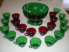 14 piece forest green punch bowl set with 8 extra ruby red cups