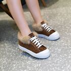 Womens Lace Up Low Heels Ankle Fluff Low Top Ankle Boots Fashion Sneakers US11