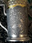 EXCEPTIONAL MASTER MAKER SIGNED SET OF SIX PERSIAN SOLID SILVER TEA DRINK SET